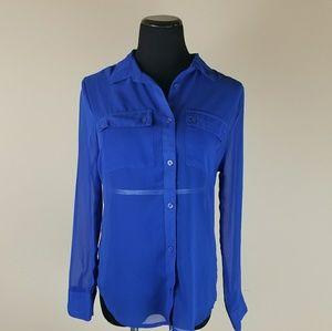 Rock and Republic Sheer Button Down Shirt sz S